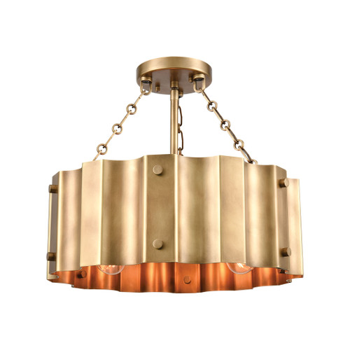 ELK Lighting 89066/3 Clausten 3-Light Semi Flush in Natural Brass with Natural Brass Metal Shade