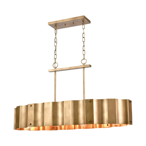 ELK Lighting 89068/4 Clausten 4-Light Island Light in Natural Brass with Natural Brass Metal Shade