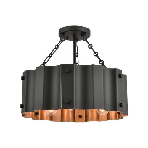 ELK Lighting 89076/3 Clausten 3-Light Semi Flush in Black and Gold with Black Metal Shade
