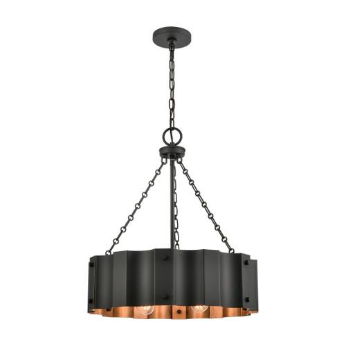 ELK Lighting 89077/4 Clausten 4-Light Chandelier in Black and Gold with Black Metal Shade
