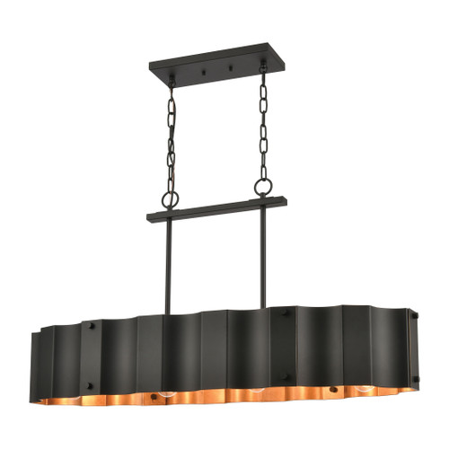 ELK Lighting 89078/4 Clausten 4-Light Island Light in Black and Gold with Black Metal Shade