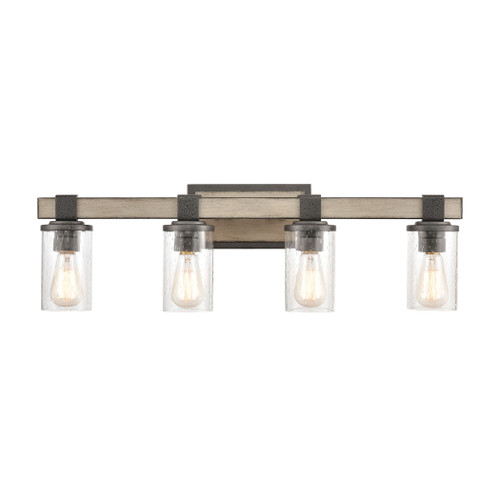 ELK Lighting 89143/4 Crenshaw 4-Light Vanity Light in Anvil Iron and Distressed Antique Graywood with Seedy Glass