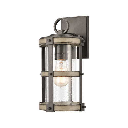 ELK Lighting 89144/1 Crenshaw 1-Light Outdoor Sconce in Anvil Iron and Distressed Antique Graywood with Seedy Glass