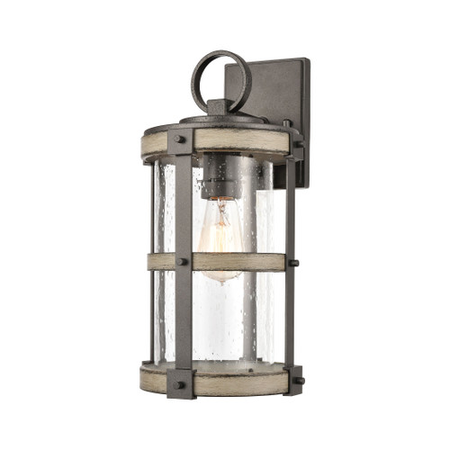 ELK Lighting 89145/1 Crenshaw 1-Light Outdoor Sconce in Anvil Iron and Distressed Antique Graywood with Seedy Glass