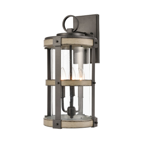 ELK Lighting 89146/3 Crenshaw 3-Light Outdoor Sconce in Anvil Iron and Distressed Antique Graywood with Seedy Glass