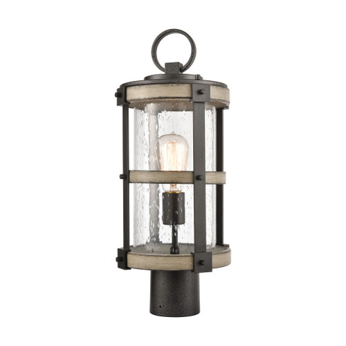 ELK Lighting 89148/1 Crenshaw 1-Light Outdoor Post Mount in Anvil Iron and Distressed Antique Graywood with Seedy Glass