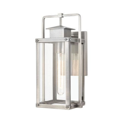 ELK Lighting 89171/1 Crested Butte 1-Light Outdoor Sconce in Antique Brushed Aluminum with Clear Glass Enclosure