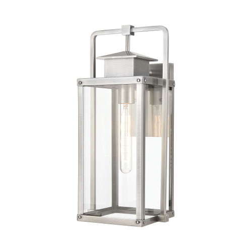 ELK Lighting 89172/1 Crested Butte 1-Light Outdoor Sconce in Antique Brushed Aluminum with Clear Glass Enclosure