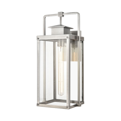 ELK Lighting 89173/1 Crested Butte 1-Light Outdoor Sconce in Antique Brushed Aluminum with Clear Glass Enclosure