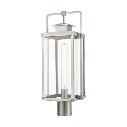ELK Lighting 89175/1 Crested Butte 1-Light Outdoor Post Mount in Antique Brushed Aluminum with Clear Glass Enclosure