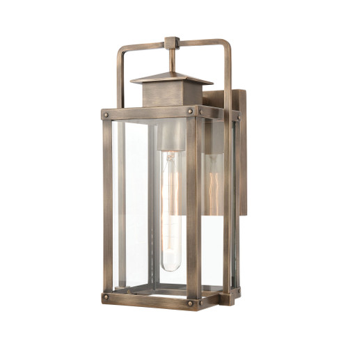 ELK Lighting 89181/1 Crested Butte 1-Light Outdoor Sconce in Vintage Brass with Clear Glass Enclosure