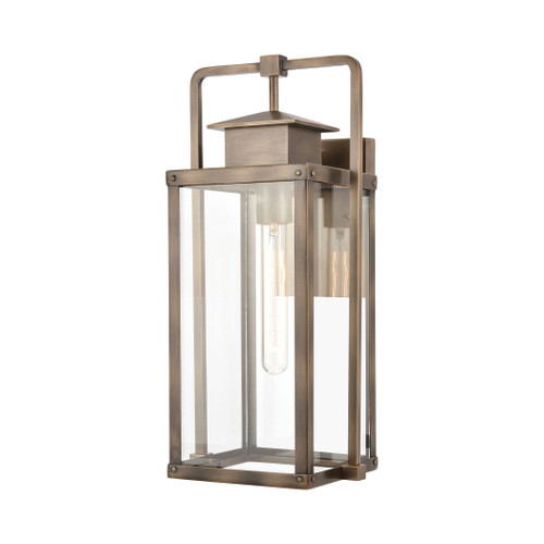 ELK Lighting 89182/1 Crested Butte 1-Light Outdoor Sconce in Vintage Brass with Clear Glass Enclosure
