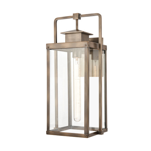 ELK Lighting 89183/1 Crested Butte 1-Light Outdoor Sconce in Vintage Brass with Clear Glass Enclosure