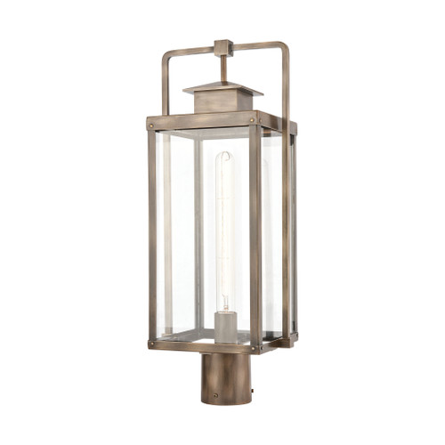 ELK Lighting 89185/1 Crested Butte 1-Light Outdoor Post Mount in Vintage Brass with Clear Glass Enclosure