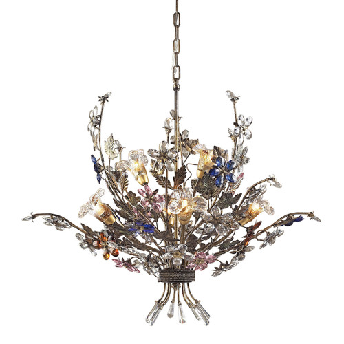 ELK Lighting 9107/4+2 Brillare 6-Light Chandelier in Bronzed Rust with Multi-colored Floral Crystals