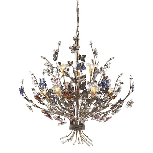 ELK Lighting 9108/6+3 Brillare 9-Light Chandelier in Bronzed Rust with Multi-colored Floral Crystals