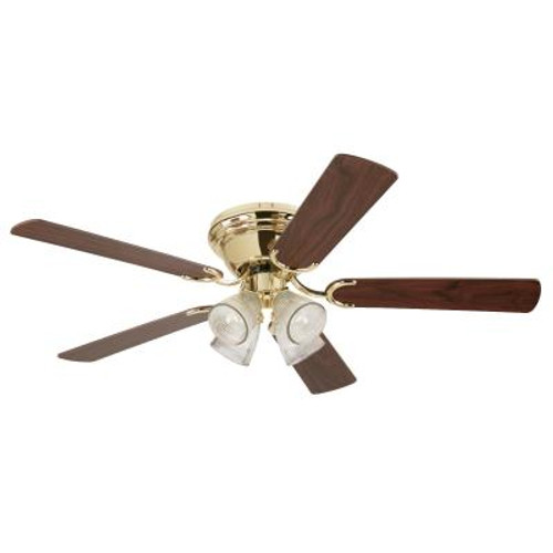 Westinghouse 7216500 Hugger Contempra IV 52-Inch Indoor Ceiling Fan with Light KitPolished Brass Finish with Reversible Walnut/Oak Blades, Clear Ribbed Glass