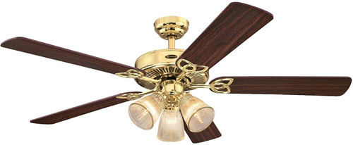Westinghouse 7233800 Vintage 52-Inch Indoor Ceiling Fan with Dimmable LED Light FixturePolished Brass Finish with Reversible Walnut/Oak Blades, Clear Ribbed Glass