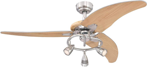 Westinghouse Lighting 7235700 Elite Indoor Ceiling Fan with LED Light, 48 Inch, Brushed Nickel