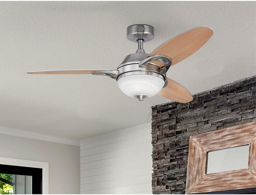 Westinghouse Lighting 7224400 Arcadia Indoor Ceiling Fan with Light and Remote, 46 Inch, Brushed Nickel