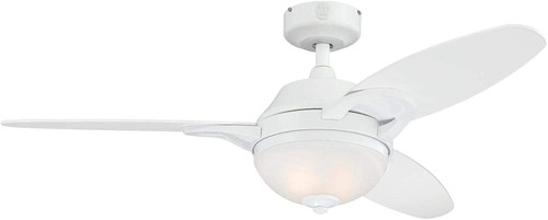 Westinghouse Lighting 7237200 Arcadia Indoor Ceiling Fan with LED Light and Remote, 46 Inch, White