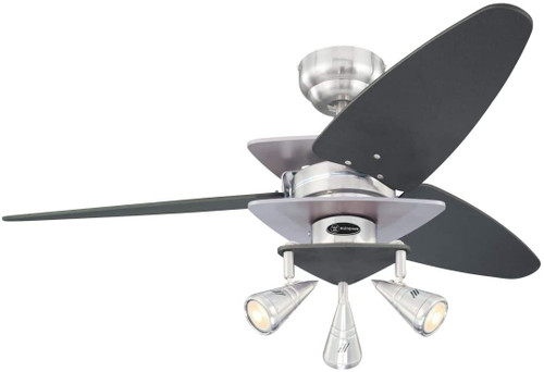 Westinghouse Lighting 7235800 Vector Elite 42-Inch Indoor Ceiling Fan with Dimmable LED Light FixtureBrushed Nickel Finish with Graphite Accents and Reversible Graphite/Silver Blades, Brushed Nickel Spot Lights
