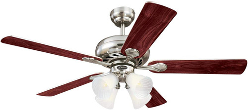 Westinghouse Lighting 7235900 Swirl 52-Inch Indoor Ceiling Fan with Dimmable LED Light FixtureBrushed Nickel Finish with Reversible Rosewood/Light Maple Blades, Frosted Swirl Glass