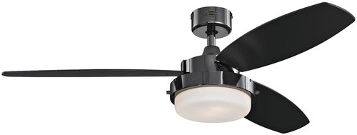 Westinghouse Lighting 7205300 Alloy LED 52-Inch Indoor Ceiling Fan with LED Light KitGun Metal Finish with Reversible Black/Applewood Blades, Opal Frosted Glass