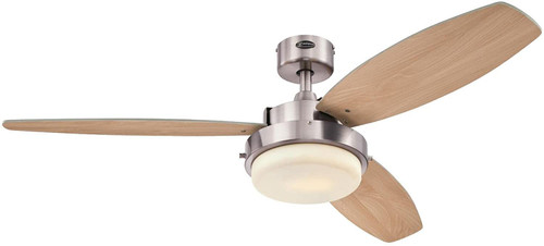 Westinghouse Lighting 7209000 Alloy LED 52-Inch Indoor Ceiling Fan with LED Light KitBrushed Nickel Finish with Reversible Beech/Wengue Blades, Opal Frosted Glass