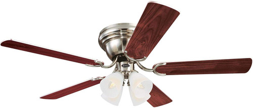 Westinghouse Lighting 7232000 Contempra IV 52-Inch Indoor Ceiling Fan with Dimmable LED Light FixtureBrushed Nickel Finish with Reversible Rosewood/Bird's Eye Maple Blades, Frosted Ribbed Glass