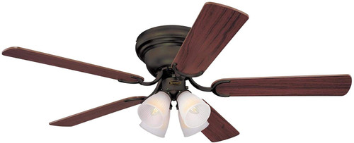 Westinghouse Lighting 7232100 Contempra IV 52-Inch Indoor Ceiling Fan with Dimmable LED Light FixtureOil Rubbed Bronze Finish with Reversible Dark Cherry/Walnut Blades, Frosted Ribbed Glass