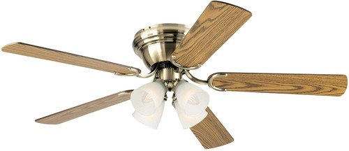 Westinghouse Lighting 7232200 Contempra IV 52-Inch Indoor Ceiling Fan with Dimmable LED Light FixtureAntique Brass Finish with Reversible Oak/Walnut Blades, Frosted Ribbed Glass