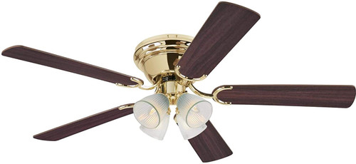 Westinghouse Lighting 7232400 Contempra IV 52-Inch Indoor Ceiling Fan with Dimmable LED Light FixturePolished Brass Finish with Reversible Walnut/Oak Blades, Clear Ribbed Glass