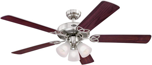Westinghouse Lighting 7237100 Vintage 52-Inch Indoor Ceiling Fan with Dimmable LED Light FixtureBrushed Nickel Finish with Reversible Rosewood/Light Maple Blades, Frosted Ribbed Glass
