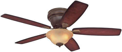 Westinghouse Lighting 7230600 Sumter LED 52-Inch Indoor Ceiling Fan with LED Light FixtureClassic Bronze Finish with Reversible Applewood with Shaded Edge/Dark Cherry Blades, Amber Alabaster Bowl