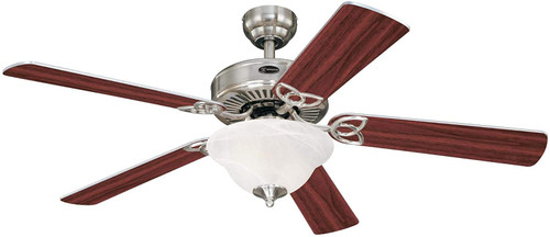 Westinghouse Lighting 7234900 Vintage II 52-Inch Indoor Ceiling Fan with LED Light FixtureBrushed Nickel Finish with Reversible Rosewood/Light Maple Blades, White Alabaster Glass
