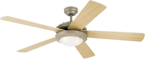 Westinghouse 7234100 Comet 52-Inch Indoor Ceiling Fan with Dimmable LED Light FixtureBrushed Pewter Finish with Reversible Light Maple/White Blades, Frosted Glass