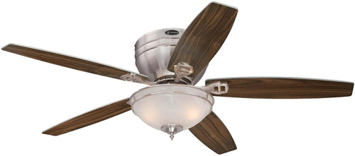 Westinghouse Lighting 7209700 Carolina LED 52-Inch Indoor Ceiling Fan with LED Light KitBrushed Nickel Finish with Reversible Rich Walnut/Bird's Eye Maple Blades, White Alabaster Bowl