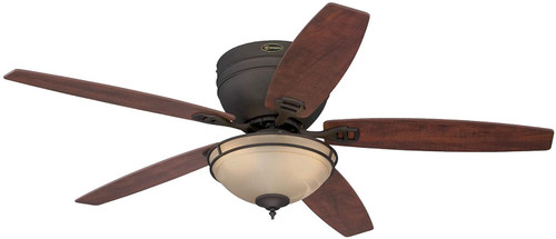 Westinghouse Lighting 7209600 Carolina LED 52-Inch Indoor Ceiling Fan with LED Light Kit ,Oil Rubbed Bronze Finish with Reversible Applewood/Cherry Blades, Amber Alabaster Bowl
