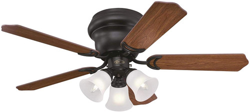 Westinghouse Lighting 7231300 Contempra Trio 42-Inch Indoor Ceiling Fan with Dimmable LED Light FixtureOil Rubbed Bronze Finish with Reversible Dark Cherry/Walnut Blades, Frosted Glass