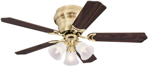 Westinghouse Lighting 7231500 Contempra Trio 42-Inch Indoor Ceiling Fan with Dimmable LED Light FixtureSatin Brass Finish with Reversible Walnut/Maple Blades, Frosted Glass