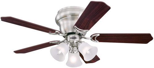 Westinghouse Lighting 7231900 CONTEMPRA TRIO Indoor Ceiling Fan with LED Light, 42 Inch, BRUSHED NICKEL