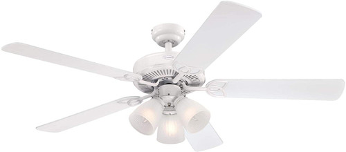 Westinghouse Lighting 7236400 Vintage 52-Inch Indoor Ceiling Fan with Dimmable LED Light Fixture White Finish with Reversible White/White Washed Pine Blades, Frosted Ribbed Glass