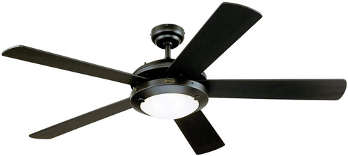 Westinghouse Lighting 7224200 Comet 52-Inch Indoor Ceiling Fan with Dimmable LED Light Fixture Matte Black Finish with Reversible Black/Black Marble Blades, Frosted Glass