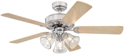 Westinghouse Lighting 7235400 Newtown 42-Inch Indoor Ceiling Fan with Dimmable LED Light Fixture Brushed Nickel Finish with Reversible Light Maple/Bird's Eye Maple Blades, Water Glass Shades