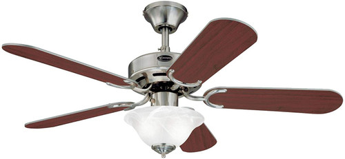 Westinghouse Lighting 7237500 Richboro SE 42-Inch Indoor Ceiling Fan with Dimmable LED Light Fixture Brushed Nickel Finish with Reversible Rosewood/Light Maple Blades, Frosted White Alabaster Glass