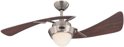 Westinghouse Lighting 7231100 Harmony 48-Inch Indoor Ceiling Fan with Dimmable LED Light Fixture Brushed Nickel Finish with Weathered Maple Blades, Opal Frosted Glass