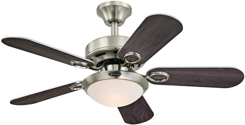 Westinghouse Lighting Cassidy 36-Inch Indoor Ceiling Fan with Dimmable LED Light Fixture Brushed Nickel Finish with Reversible Wengue/Silver Blades, Opal Frosted Glass