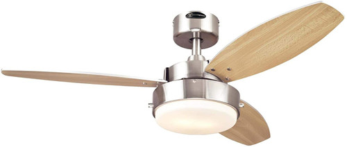 Westinghouse Lighting 7221600 Alloy 42-Inch Indoor Ceiling Fan with LED Light, Brushed Nickel Finish with Reversible Beech/Wengue Blades, Opal Frosted Glass