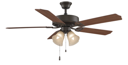 Fanimation BP210BOB1 Aire Décor - 52 inch - Oil-Rubbed Bronze with Amber Four Shade Glass Light Kit At CLW Lighting!